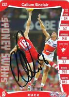 ✺Signed✺ 2019 SYDNEY SWANS AFL Card CALLUM SINCLAIR