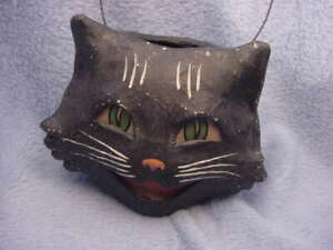 Bethany Lowe Paper Mache Happy Cat Bucket Large