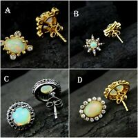 SOLID 925 STERLING SILVER ETHIOPIAN OPAL GEMSTONE GOLD PLATED STUD EARRINGS