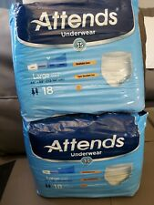 Attends Adult Underwear Size LARGE, Heavy Absorbency 18 Count  Lot of 2 Packs