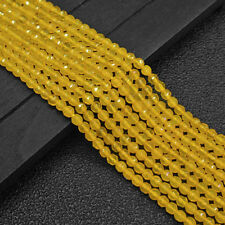 """4mm Genuine Natural Faceted Yellow Jade Round Gemstone Loose Beads 15"""" Y1675"""