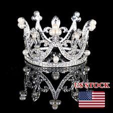 Wedding Bridal Tiara Kids Pearls Crystal Rhinestone Pageant Flower Girl Crown