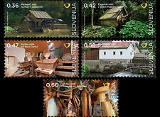 Watermills set of 5 mnh stamps Slovenia 2016 rivers water wheels