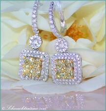 RARITÄT Gelbe Diamanten Ohrgehänge mit Brillanten 2,62 ct.tw-vs/vvs WG750 15720€