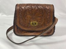 VINTAGE Hand Tooled Carved Leather Bag BOHO Mexican/Peruvian Handmade Purse 70s