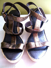 NEW Born Copper Metallic Brown Leather Strappy Straw Wedge Heels Sandals 10 $125