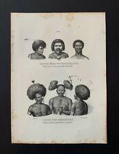 Lithographie originale d'époque Papus de la nouvelle Guinée, H.B.Schinz 1845