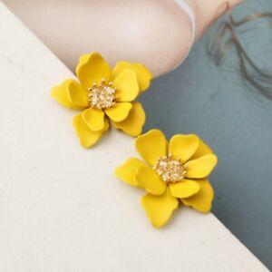 Fashion Resin Flower Floral Ear Earrings Stud Women Wedding Party Jewelry Gift