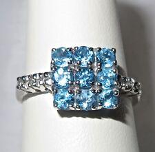 Estate RJM Ring 14K White Gold with Aquamarines & Diamonds