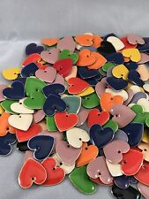 Lot -20 Assorted  Colors Heart Drop Charms Enamel Epoxy Silver 16mm Jewelry NEW