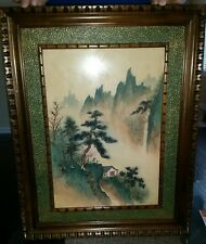 ANTIQUE CHINESE ORIGINAL WATERCOLOR ON SILK ON BOARD RED SEALED & FRAMED