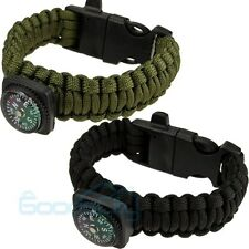 Survival Bracelet Paracord Compass/Flint/Fire Starter/Whistle Camping Gear/Kit