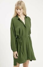 TOPSHOP Dark Green Self Tie Waist Shirt Dress Long Roll-up Sleeve Sz  US 8 UK 12
