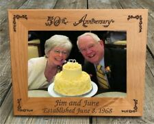 """Personalized 50th Anniversary Photo Frame 5"""" x 7"""" Wood Custom Engraved"""