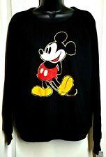 Disney Womens Size Large Oversized Black Mickey Mouse Sweatshirt Soft Classic