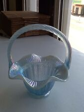 Fenton Blue Carnival Glass Basket Good Condition
