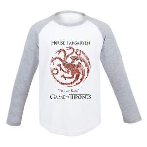 KIDS Game Of Thrones House Targaryen Long Sleeved T Shirt Dire Wolf Stark