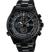 Super Rare Casio Edifice EF-527BK-1AV Black IP coated Quartz WR 100m Men's Watch