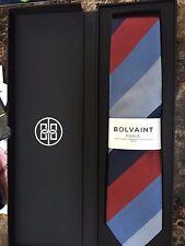 Men's Bolvaint - Tabit Autumn Striped Blue Handmade 100% Silk Tie - NEW IN BOX