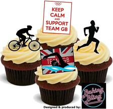 12 Novelty Olympics TEAM GB Triathlon Mix STAND UP Edible Cake Toppers Cycle Run