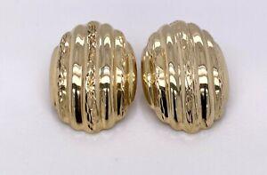 14KT YELLOW GOLD DIAMOND CUT CLIP ON EARRINGS 3.8 GRAMS