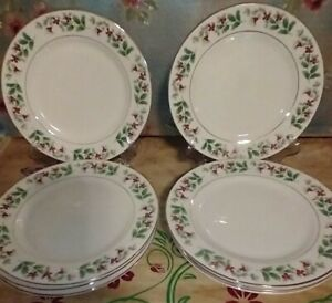 Gibson Everyday Christmas Charm Holly Berry Salad Plates Set Of 8