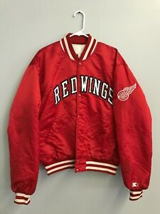 vintage Starter Detroit Red Wings Button-Up Jacket Size XL