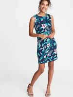 Old Navy Women Printed Ponte-Knit Sheath Dress Navy Floral Size M item #394188