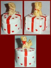 3 Valentine Trinket Boxes Teddy Bear On Lid Oval Round Square Red Hearts Trim