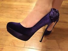 Occasion Purple Platform Heels with Flower Detail RRP £110 Size 4