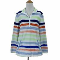 T by Talbots Stripe Split Neck Collar Heavy Shirt Womens Size M Denim Flip Cuffs