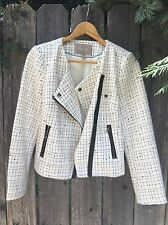 Banana Republic 6P Petite White Black Checkered Stripe Coat Jacket Blazer Zip