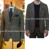 Retro Mens Uncle Father's Herringbone Suit Tops Wool Blend Tweed Jackets Coats