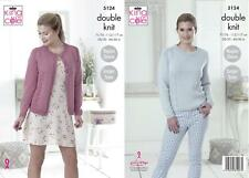 King Cole 5124 Knitting Pattern Womens Cardigan and Sweater in Cottonsoft DK