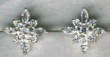 "925 Sterling Silver Clear Cubic Zirconia Cluster Stud Earrings  Diam  5/8"" 16mm"