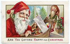 PERE NOEL. LUTIN..SANTA CLAUS. CHRISTMAS. GAUFRé. EMBOSSED.