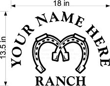 Custom Vinyl Double Horse Shoe Ranch Farm Name Decal