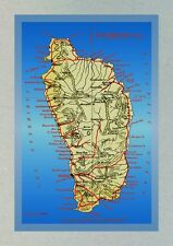 Island of Dominica Modern Postcard of Older Map (Reference 197)