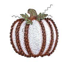 """Fall Harvest Metal Leaf Swirled Pumpkin Decor 19""""Tall Large White Pumpkin"""