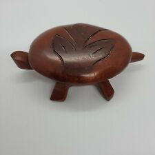 Vintage Hand Carved Wooden Turtle Trinket Pill Jewelry Storage Box