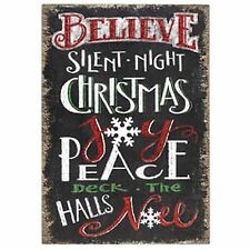 Chalk Black Board Wall Plaque Christmas Messages Red Glitter, White & Green Text