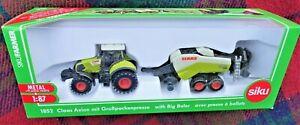 SIKU 1852 1/87 CLAAS 850 Axion tractor towing Quadrant 3400 baler (MIB)