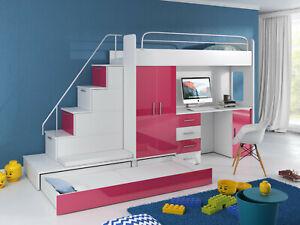 Hochbett MAJA mit Schreibtisch, Kinderbett Kleiderschrank Treppe Set Etagenbett