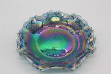Beautiful Blue Iridescent Carnival Glass Serving Plate