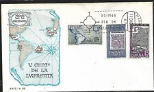 SPAIN 1974 FIRST DAY COVER MAP - SPAIN AND AMERICAS W/ DATES OF FIRST PRINTINGS