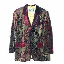 Fiorella Mancini Venezia Jacket Velvet Embossed With Bronze Birds Dogs UNISEX M