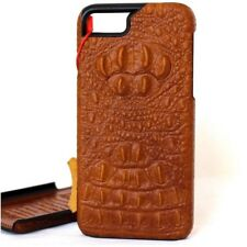 genuine leather Case for apple iphone 7 plus hard cover brown crocodile slim new