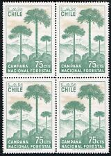 CHILE 1967 AIR MAIL STAMP # 709 MNH BLOCK OF FOUR FOREST TREES