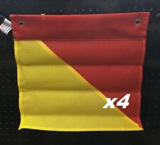 Pack of 4 Red & Yellow Oversize Load Flags - Elastic Backed Clip On Safety Flags