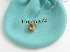 Tiffany & Co Silver Yellow Citrine Gemstone Sparkler Pendant Necklace